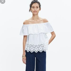 Madewell Balcony Off The Shoulder Top White